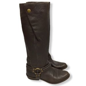 Brown Leather harness buckle riding boots